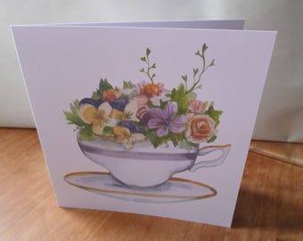 Set of 3 cards floral handmade any occasion 15cm x 15cm