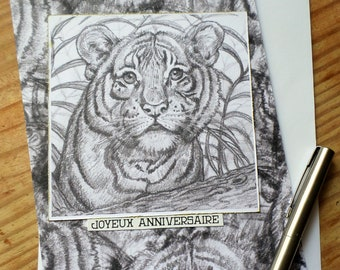 Greeting card unique anniversary birthday Tiger Tiger handmade 15cm x 21cm