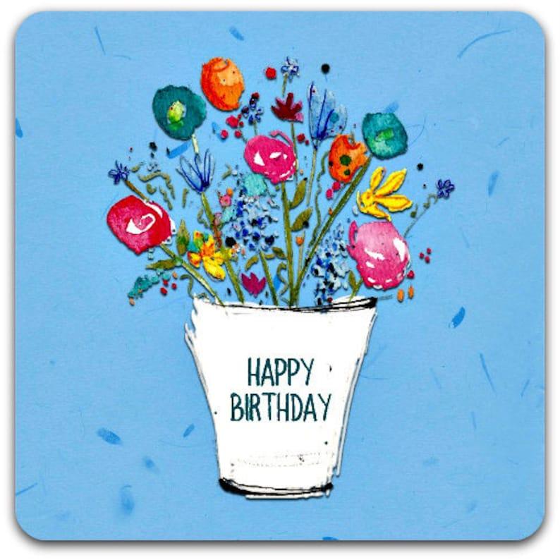 Happy Birthday Bucket Of Flowers Original Greeting Card