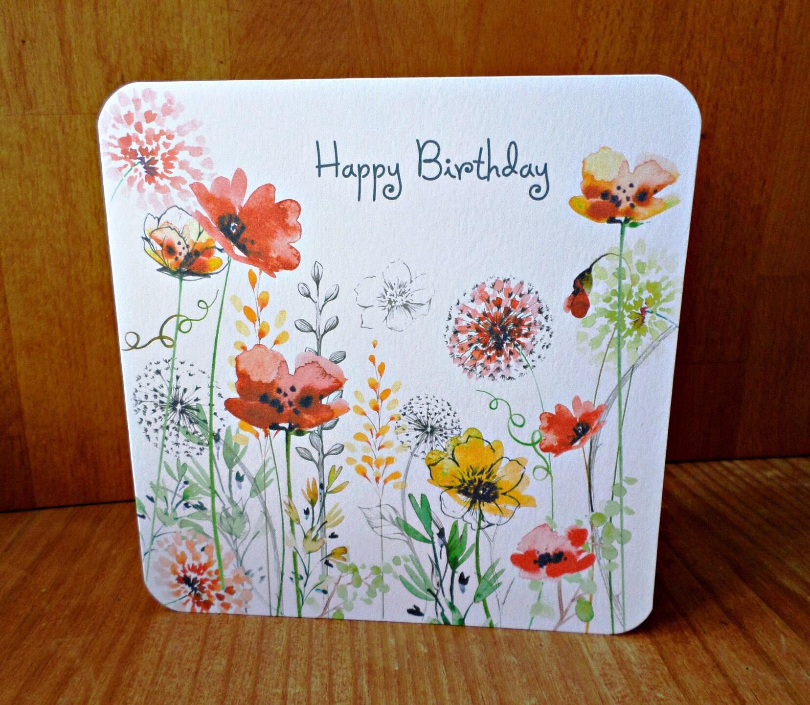Happy birthday flowers 15cm x 15cm greeting card etsy zoom izmirmasajfo