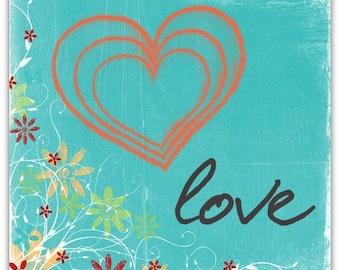 Greeting card 'Love' original design handmade 15cm x 15cm
