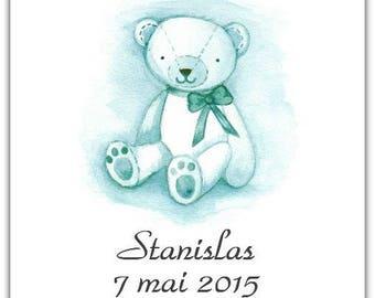 Bear 15 cm x 15cm with envelope birth announcement