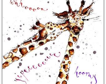 Yippee greeting card! Bravo! Yay! giraffe, giraffe original handmade 15cm x 15cm