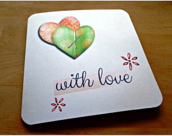 With Love 15cm x 15cm Valentine greeting card