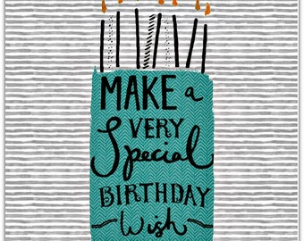 Greeting card - Happy Birthday - handmade 15cm x 15cm