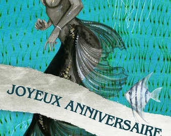 Happy birthday handmade card 21cm x 10cm