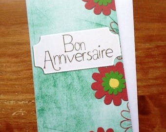 Card happy birthday handmade 21cm x 10cm
