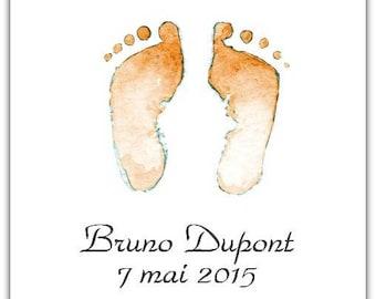 Birth announcement feet 15cm x 15cm with envelope