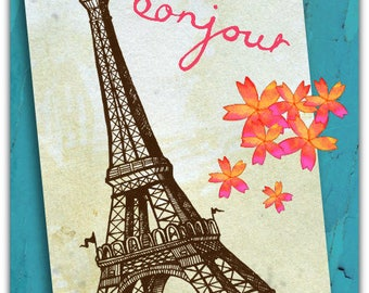 Eiffel Tower Bonjour Hello - 12.5 cm x 17 cm greeting card