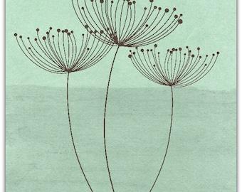 Dandelions original greeting card handmade 15cm x 15cm