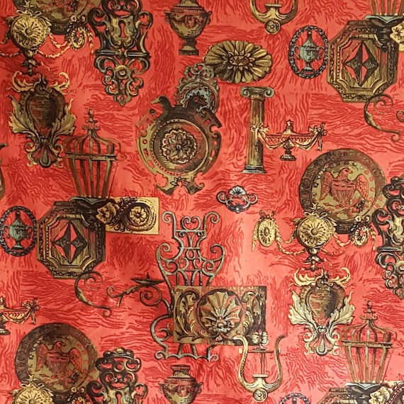 Red Cotton Upholstery Fabric Federal Style Brass Architectural Etsy