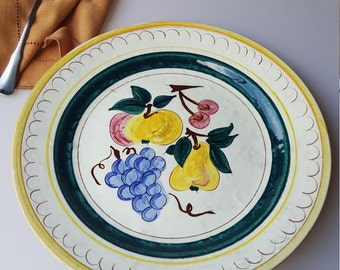 Stangl Terra Rose fruits 12.25 round platter or charger chop plate yellow hand painted