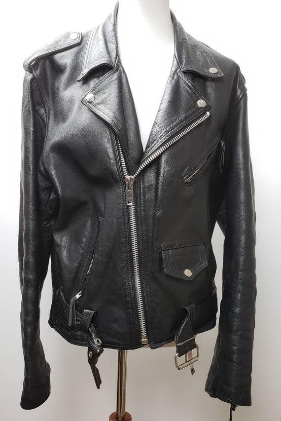 Classic black leather motorcycle jacket sz 40 1980