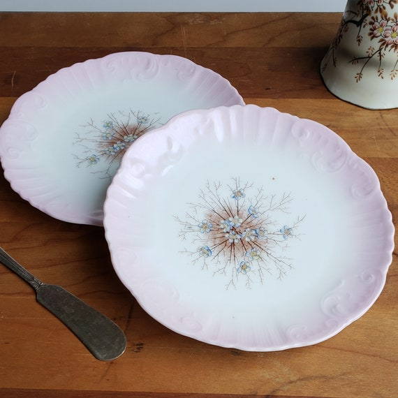 Vintage China Small Dessert Plates Pink Floral Forget Me Nots Etsy