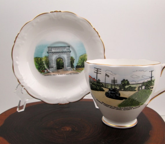 Vintage 1950s Canadian tourist teacup and saucer Magnetic Hill ON and Memorial Arch NB Kingston