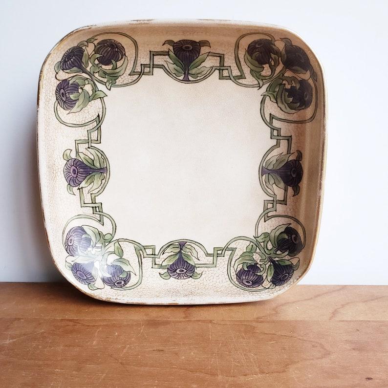 antique arts and crafts floral candy dish Art Nouveau hand painted porcelain vintage shabby decor ceramic trinket ring dish