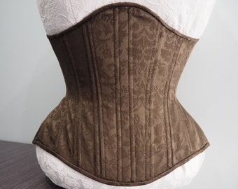 """READY TO SHIP 23"""" Brown Floral Cotton Steel Boned Underbust Corset"""