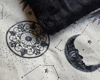 Celestial Baby Blanket, Cute Cozy Cotton Black Minky Baby Toddler Blanket, Gray Silver Metallic Moon Stars Constellation - Tiny Spark Studio