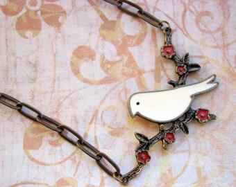 A FREE BIRD - Antique Gold Bird on a Branch Necklace - Tiny Spark Studio