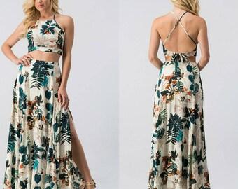 Women's Resort Style Tropical Print Halter Crop Top & Maxi Full Length Skirt Set