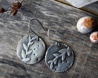 Silver Leaf Earrings, Fern Earrings, Dangle Leaf Earrings, Gypsy Earrings, Silver Dangle Earrings, Unique Earrings, Nature Jewelry