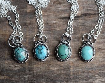 Small Turquoise Necklace, Real Turquoise Pendant, Choose Your Own, Blue Diamond Turquoise, Turquoise Bridal Jewelry, December Birthstone
