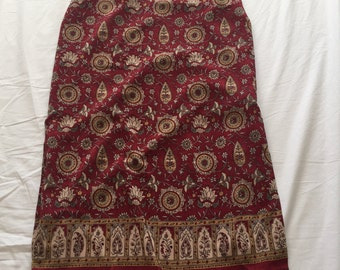 Red paisley mid-length skirt