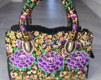 Embroidered handbag with crossbody strap