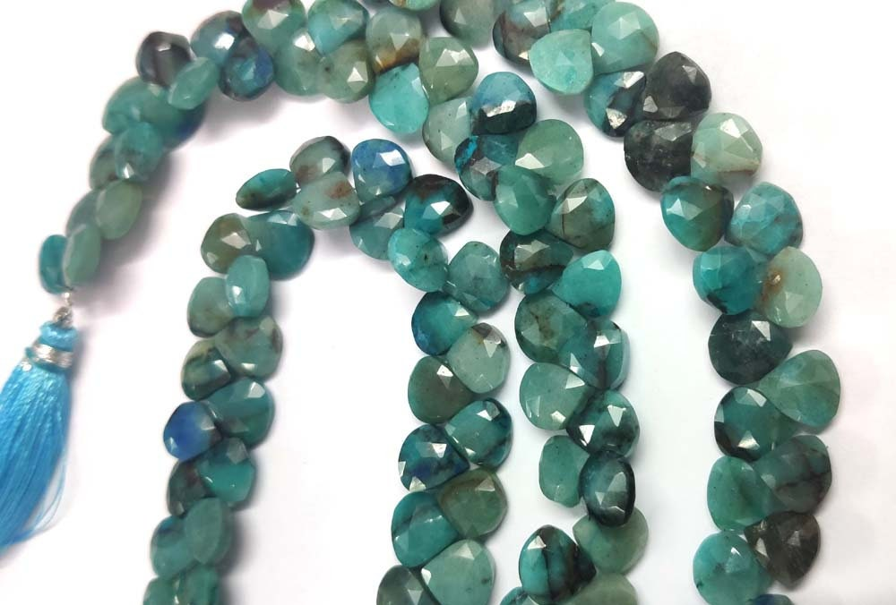 Natural Blue Opal Cube Box Shape Faceted Briolette Beads 7-8mm Strand 8 inches .