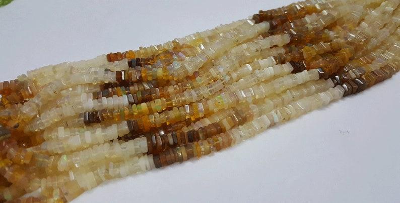 Opal Stone Beads 16inch strand AAA Natural Square Shape Smooth Ethiopian opal Heishi Shape Beads 4-6mm