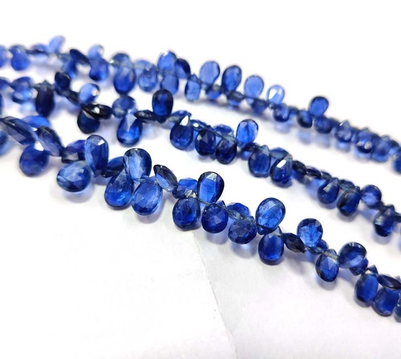 8 Strand BH#214 Natural Moss Kyanite Beads Royal blue Moss Kyanite Briolette Pear Shape Faceted Beads Wonderful! 25x8-34x10mm