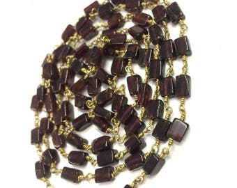 Rodholite Garnet Smooth rectangle shape beads, Garnet wire wrapped rosary link chain connector, garnet stone necklace jewelry 1 feet