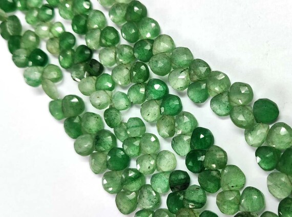 8 MM Size 10 Piece Natural Green Strawberry Quartz Faceted Briolette Green Strawberry Quartz Heart Shape Beads Gemstone