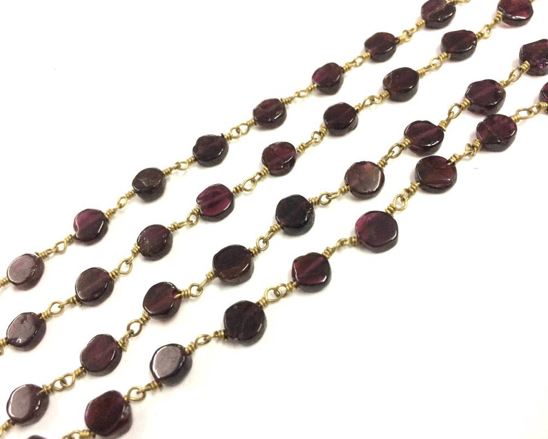 Rodholite garnet smooth coin beads garnet wire wrapped rosary link chain connector garnet stone necklace jewelry 1 feet