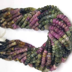 tourmaline necklace 3mm-4mm tourmaline loose gemstone 5 strand AA Multi tourmaline faceted rondelle beads 13.5inch strand