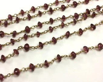 Rodholite Garnet smooth heishi beads, garnet wire wrapped rosary link chain connector, garnet stone necklace jewelry 1 feet