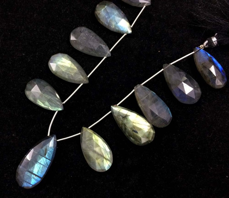 Labradorite faceted pear shape briolettes loose gemstone big size beads 14x20mm-15x25mm AAA labradorite stone necklace 10 pecs