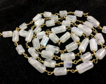 Rainbow Moonstone smooth Tube shape beads, rainbow moonstone wire wrapped rosary link chain connector, rainbow necklace jewelry 1 feet