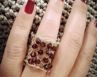 Knitted beaded ring - band ring with burgundy Swarovski bicones