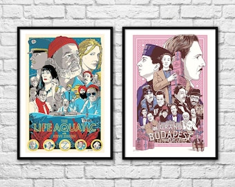 2 Art-Posters 30 x 40 cm - Wes Anderson movies