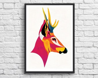 Art-Poster 50 x 70 cm Limited Edition 50 ex. - Huemul Stag Illustration