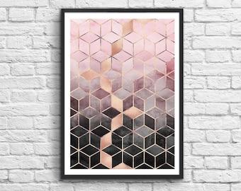Art-Poster 50 x 70 cm - Pink grey gradient cubes