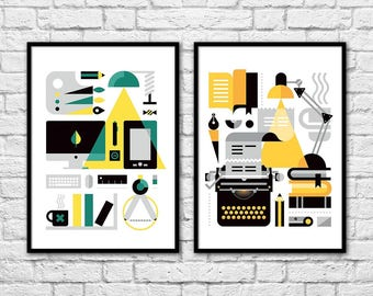 2 Art-Posters 30 x 40 cm Limited Edition 50 ex. - Duo Positive Motivation for artists