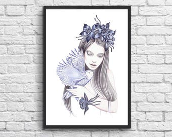 Affiche Art-Poster 50 x 70 cm - Girl with a Owl