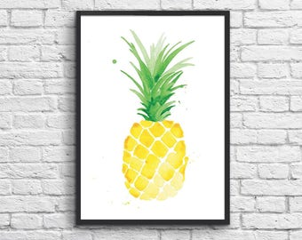 Art-Poster 50 x 70 cm - Limited Edition 50 ex. - Watercolor Pineapple