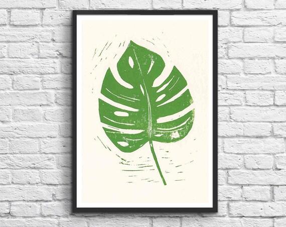 c35b93ca5b8 Art-Poster 50 x 70 cm Linocut Design Cactus   Etsy