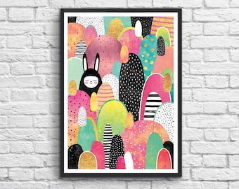Art-Poster 50 x 70 cm - Rabbit in the forest