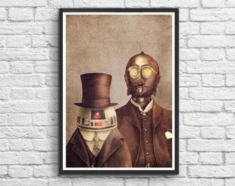 Art-Poster 50 x 70 cm - Star Wars C3PO and R2D2 Vintage Portrait