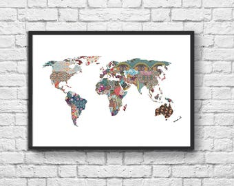 Art-Poster 50 x 70 cm - Graphic Patterns World map
