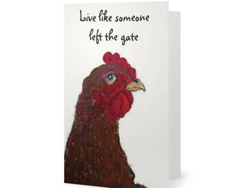 Inspirational Card Free Shipping Funny Chicken Lovers Friendship Farm Just Because Thinking Of You